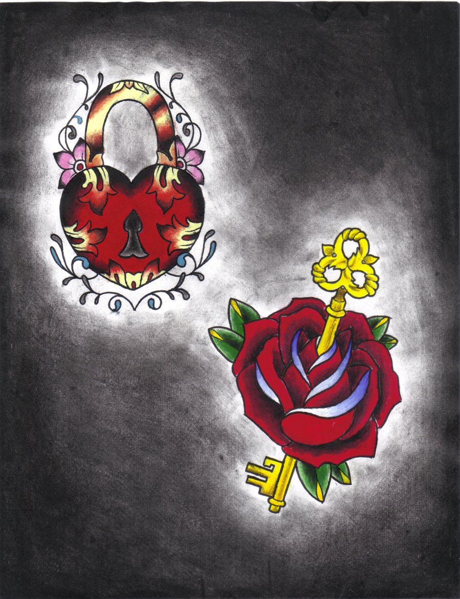 Pics photos heart lock flowers n key tattoo design - Couple Rose And Key Lock Tattoo