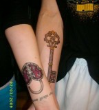 Beautiful Lock And Key Forearm Tattoo for Couples