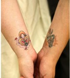 Lock and Key Couple Tattoo on Wrist