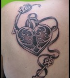Heart Lock and 2 Key Tattoo