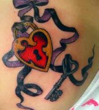 Ribboned Lock and Key Tattoo