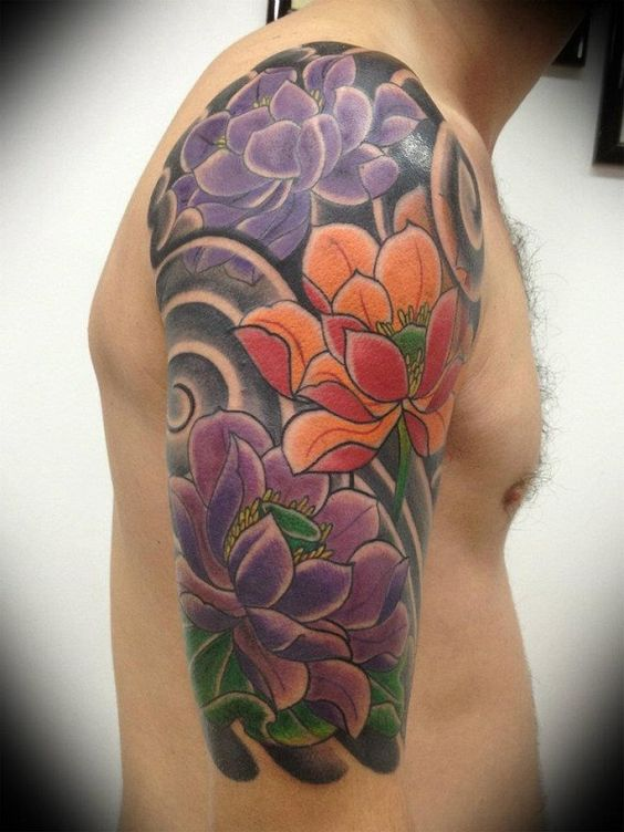 lotus flower man shoulder tattoo