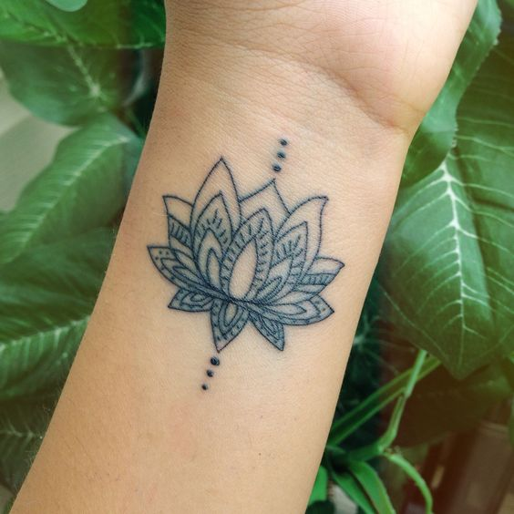 lotus on wrist flower tattoo