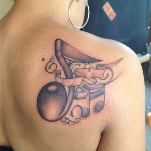 Colorful Music Note Tattoos Colorful Clef Music Tattoo
