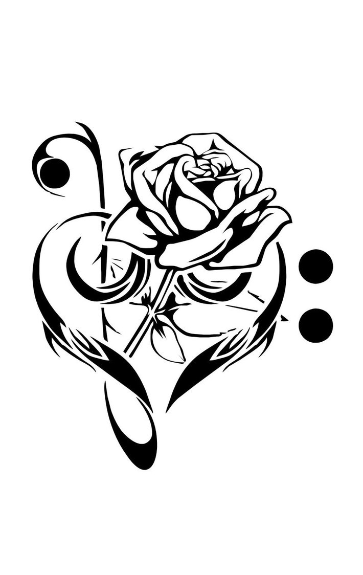 Music rose and love tattoos tattoomagz music rose and love tattoos biocorpaavc Image collections