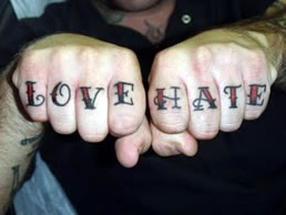 gallant love hate scripture tattoo on finger tattoomagz