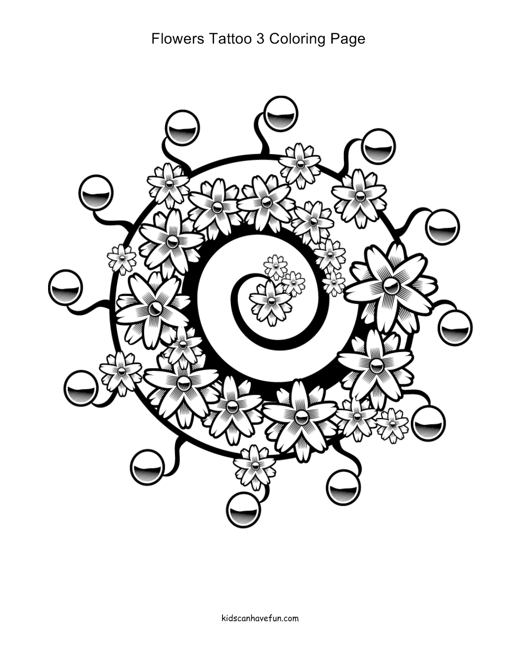 swirly flowers and leaves tattoo coloring pages tattoomagz