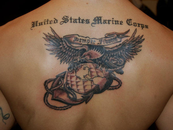 Marine Corps Tattoos Ideas: Colored MIlitary Tattoo Marine Corps Design