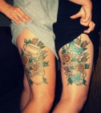 Lovely Matching Sister Thigh Tattoos