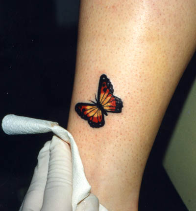 Cute Orange Winged Monarch Butterfly Leg Tattoos Butterfly Tattoos