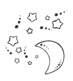 Star and Moon Tattoo Design Sketch