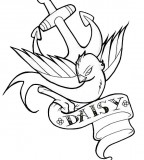 Swallow Anchor And Name Banner Tattoo Design