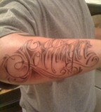 Forearm  Name Tattoo Ink Design