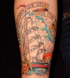 Joey Ship Tattoo On Arm for Men