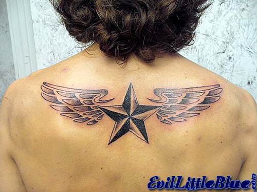 Upper back nautical star tattoos tattoomagz for Star tattoos meaning