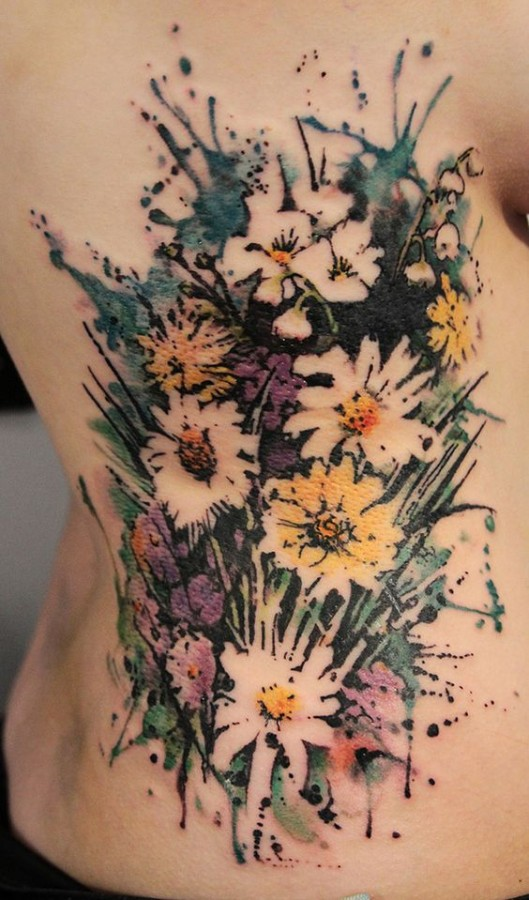negative space watercolor flower tattoo