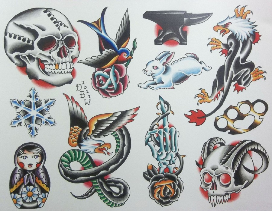 Miscellaneous iv neotraditional tattoo flash sheet by for Small tattoo flash