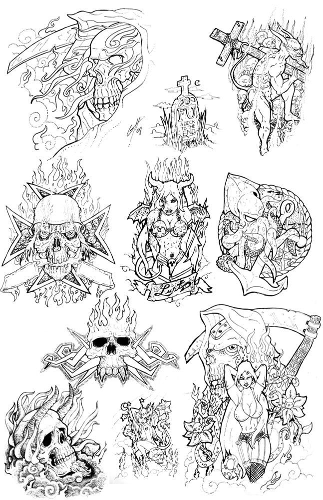 Old School Skull Tattoo Flash
