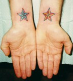 Red and Blue Stars Tattoo on Wrist