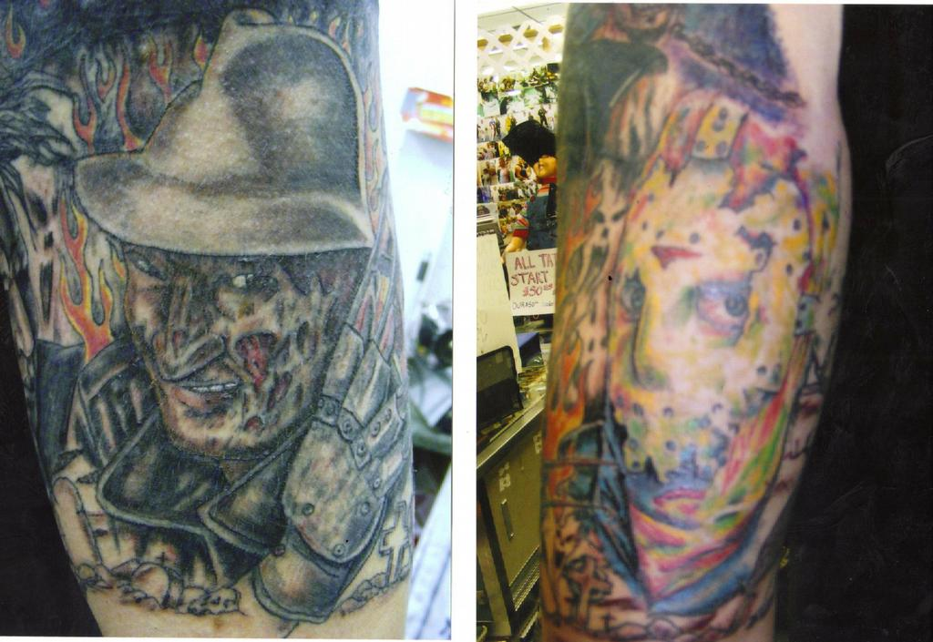 Picture freddy and jason arm tattoo tattoomagz for Painful pleasures tattoo