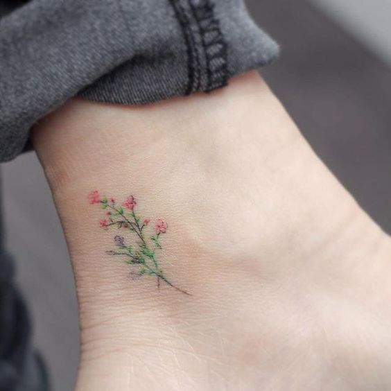 pastel flower tattoo by Mini Lau