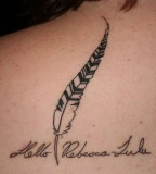 Feather and Lettering Tattoo Design on Back