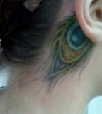 Cute Peacock Feather Tattoo on Ear