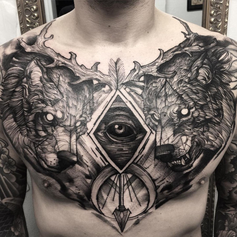 Jaw Drop Ink Tattoos: 53 Jaw Dropping Chest Tattoos For Men