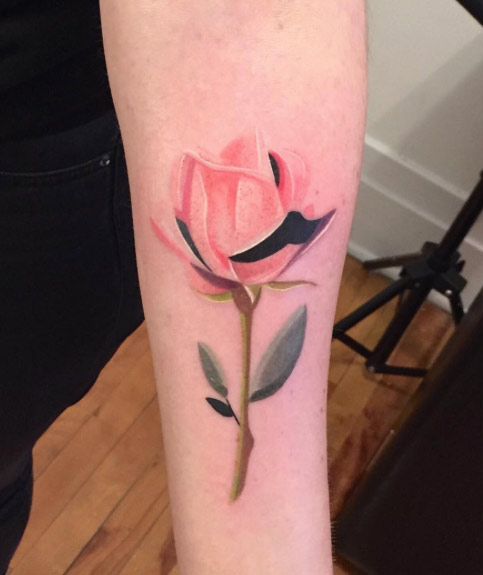 pink rose flower tattoo
