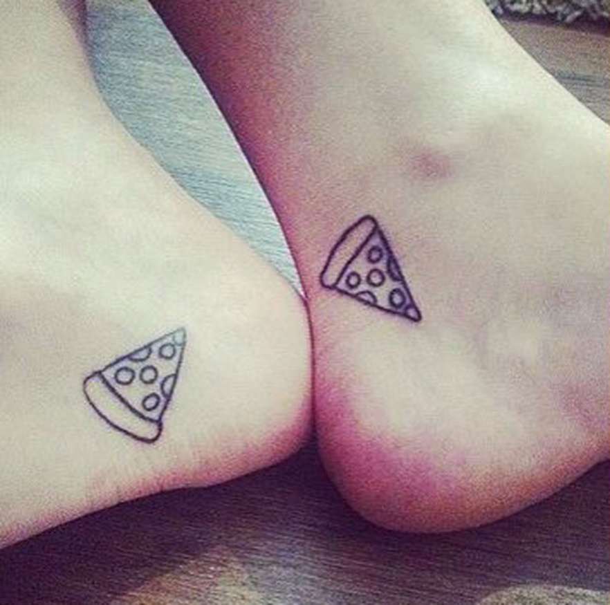 pizza slice couples tattoos