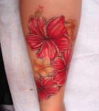 Red Hibiscus And Plumeria Tattoo Design