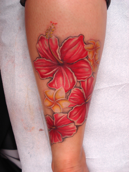 red hibiscus and plumeria tattoo design. Black Bedroom Furniture Sets. Home Design Ideas