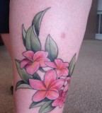 Plumeria Tattoo Design On Leg