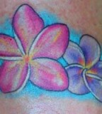 Magenta and Purlple Plumeria Tattoo Design