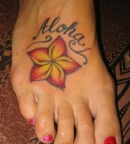 Aloha Plumeria Tattoo Design on Foot