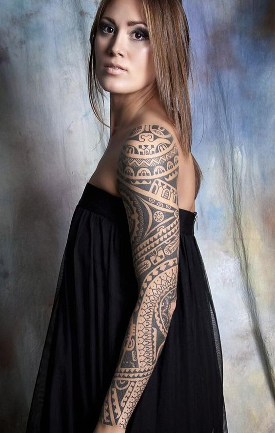 polynesian-inspired-full-arm-sleeve-tattoo
