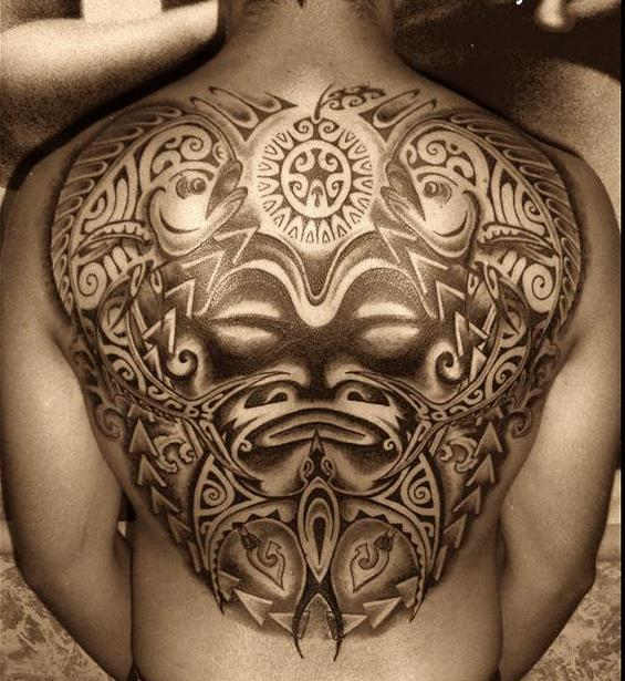 polynesian whole back tribal tattoo