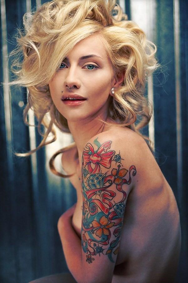 pretty arm sleeve tattoos for women