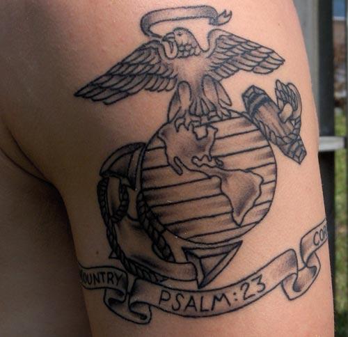 psalm 23 emblem tattoo marine corps tattoos tattoomagz. Black Bedroom Furniture Sets. Home Design Ideas