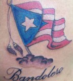 Patriotic Puerto Rican Flag Over the Cloud Theme Tattoo