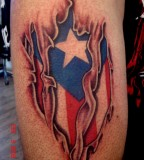 Bold Beautiful Puerto Rican Flag Under the Skin Tattoo
