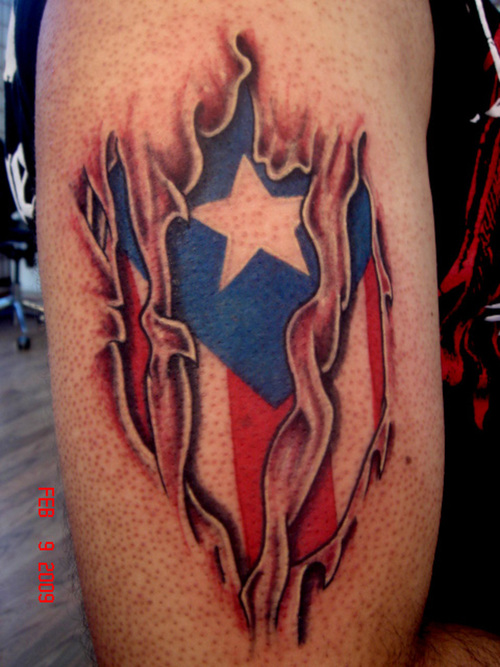 Bold beautiful puerto rican flag under the skin tattoo for Puerto rican tattoo