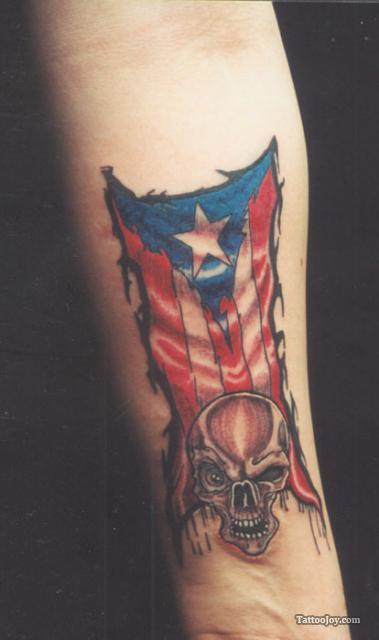 Amazing Puerto Rico Skull Tattoo On Men Inner Upper Arm Tattoomagz