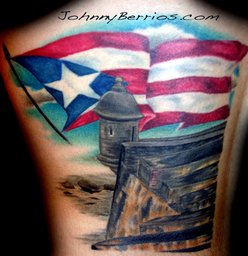 Remarkable Fluttering Puerto Rican Flag Theme Tattoo