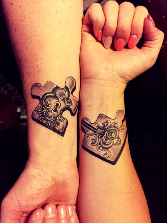 puzzle lock and key couples tattoos
