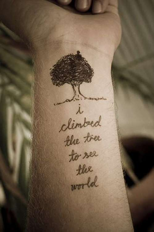 Nature Tattoo And Quote On Wrist Tattoomagz