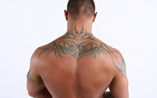 randy orton upper back tattoo design - tattoomagz