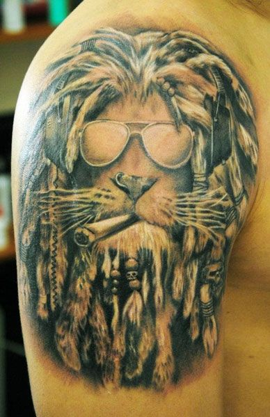 rasta lion tattoo