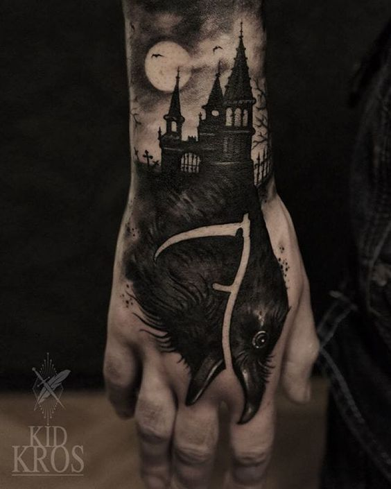 raven-and-haunted-house-halloween-tattoo-by-kid-kros
