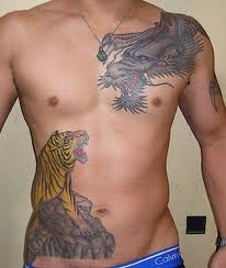 Rib Cage Tiger Dragon Tattoos For Men - TattooMagz